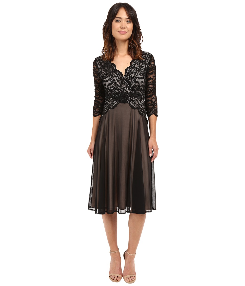Sangria - 3/4 Sleeve V-Neck Lace Bodice w/ Chiffon Skirt (Black/Putty) Women's Dress
