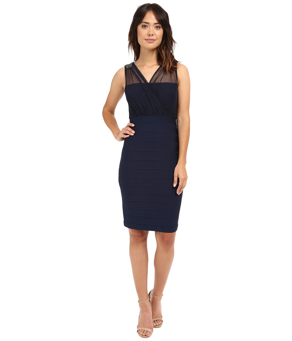 Sangria - Mesh Bodice w/ Embellished Shoulders Sheath (Midnight) Women's Dress