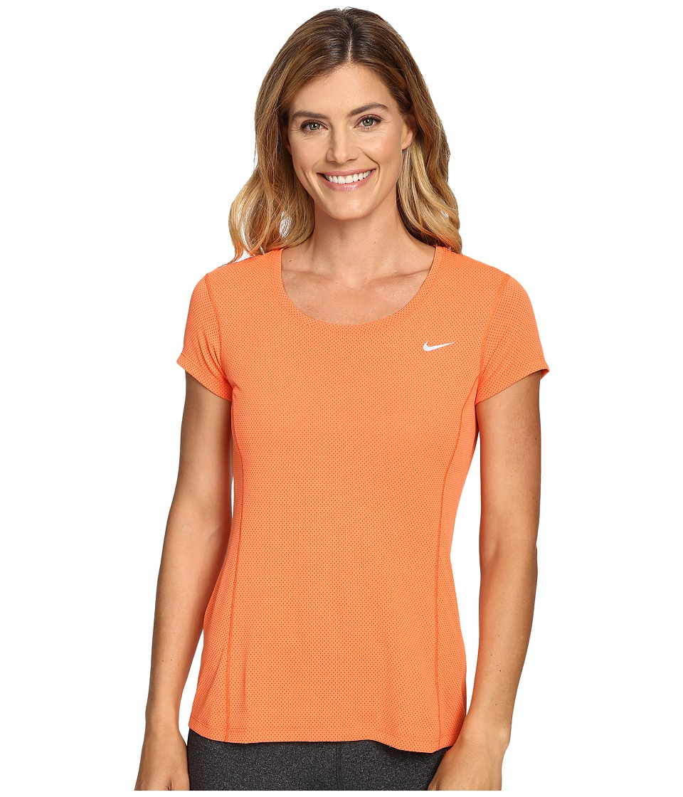 Nike - Dri-FIT Contour Short Sleeve (Turf Orange) Women's Short Sleeve Pullover