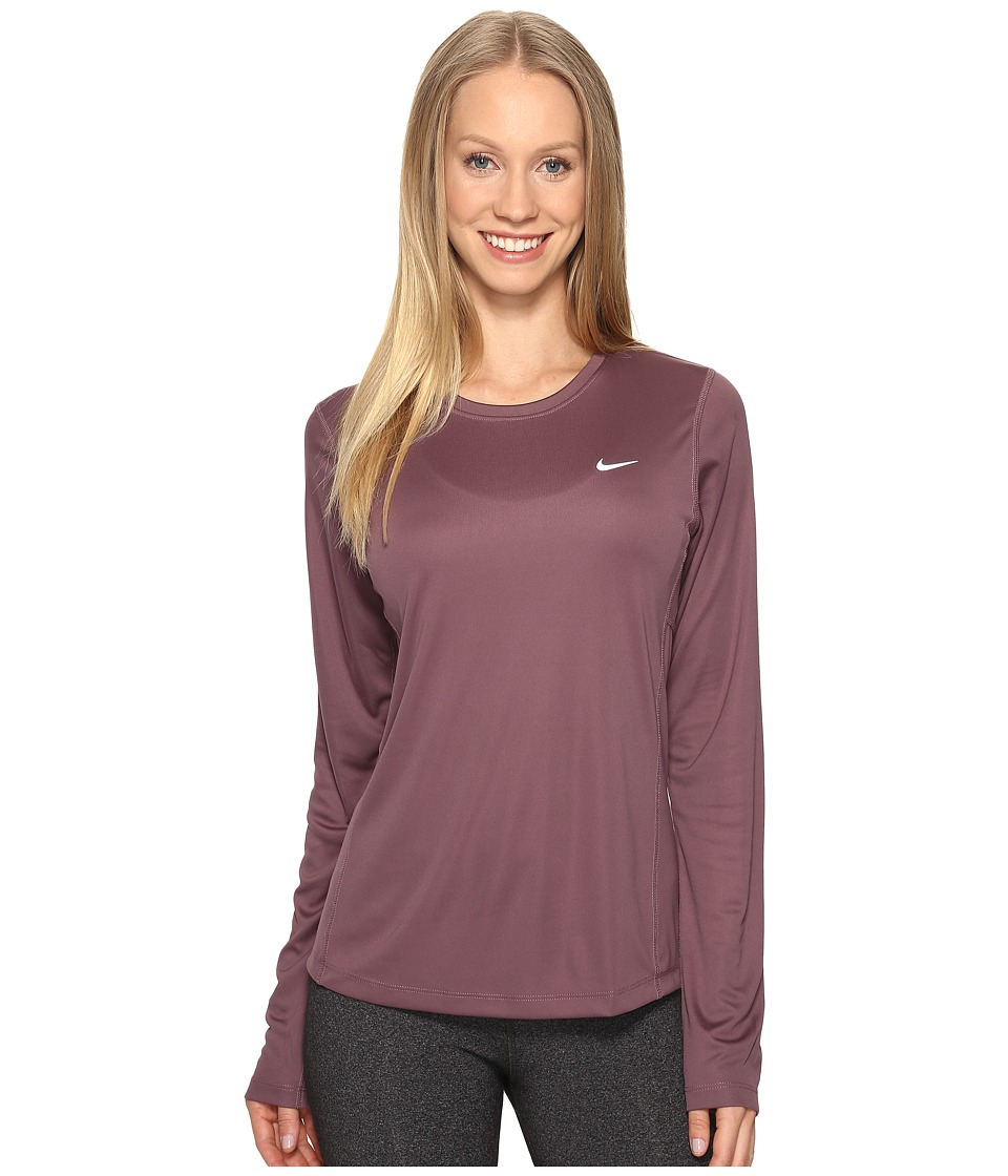 Nike - Dri-FIT Miler L/S Running Top (Purple Shade) Women's Long Sleeve Pullover