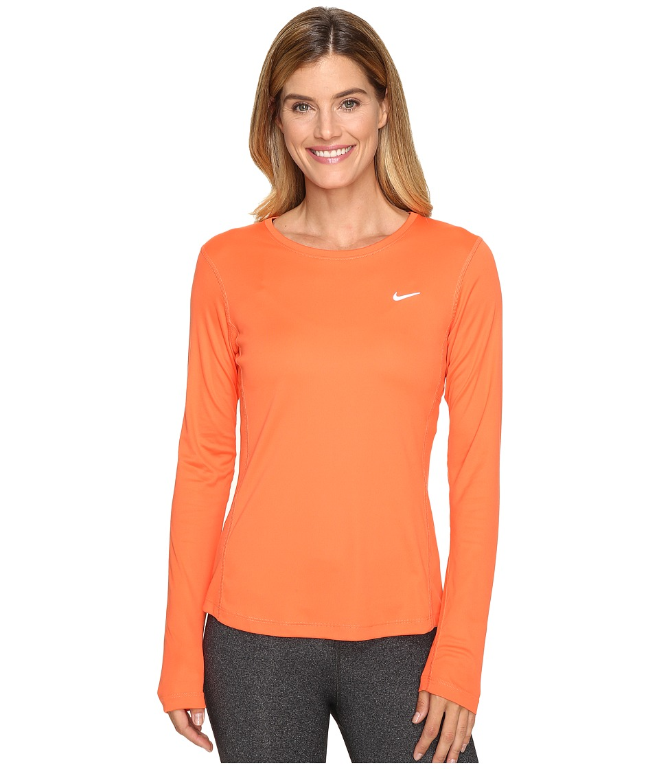 Nike - Dri-FIT Miler L/S Running Top (Turf Orange) Women's Long Sleeve Pullover