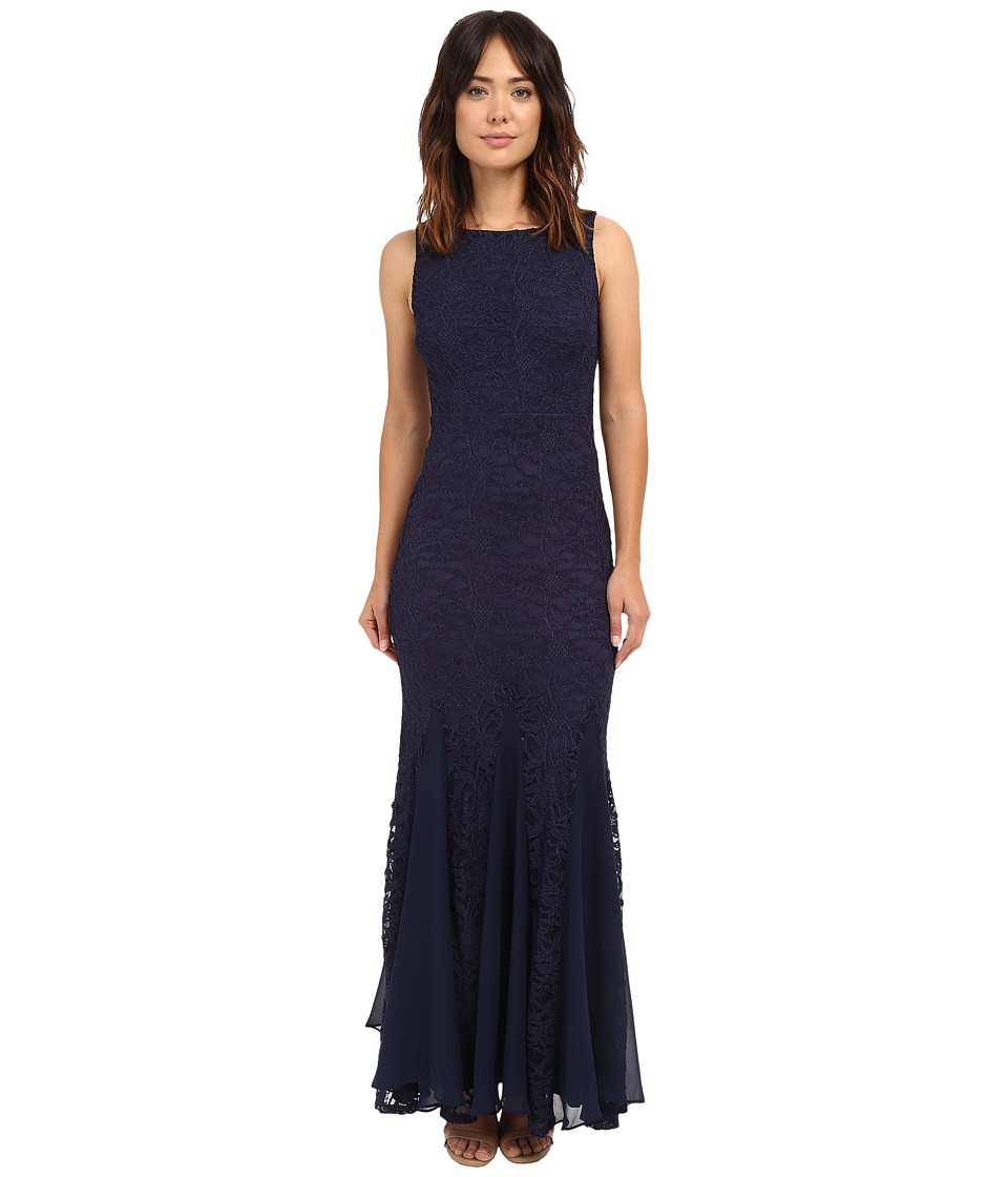 Sangria - All Over Lace Evening Gown w/ Godet Hem (Midnight) Women's Dress