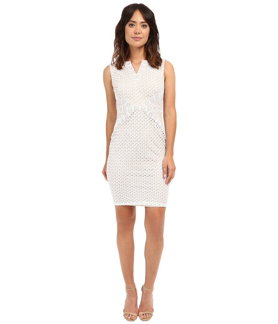 Sangria - Split Neck Bonded Lace Sheath (White) Women's Dress
