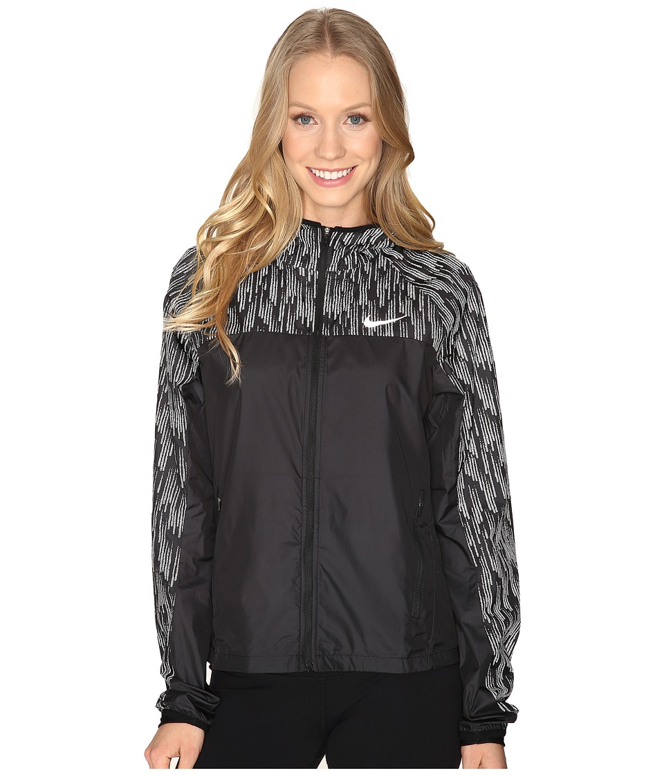 Nike - Shield Flash Running Jacket (Black/Reflective Silver) Women's Coat