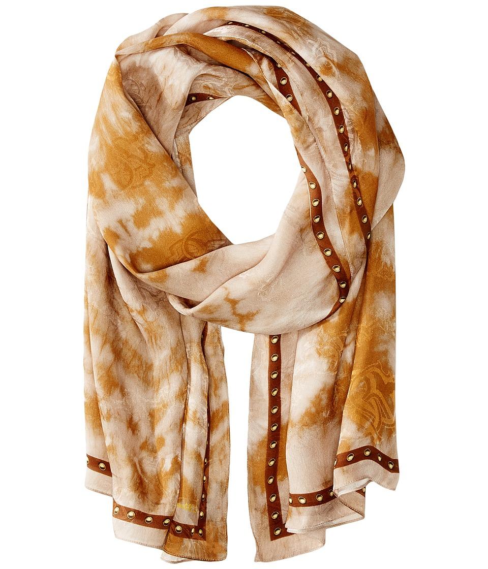 Roberto Cavalli - Tie Dye Woven Jacquard Stole (Mocha) Scarves