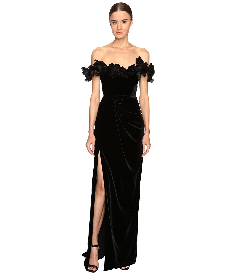Marchesa - Velvet Off the Shoulder Column Gown with High Slit Embellished with Laser-Cut Organza and Velvet Flowers (Black) Women's Dress