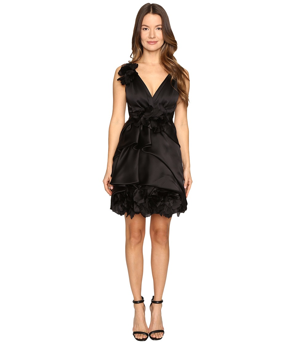 Marchesa Satin-Faced Organza Cocktail with Plunging Neckline and Laser-Cut Organza Flowers (Black) Women