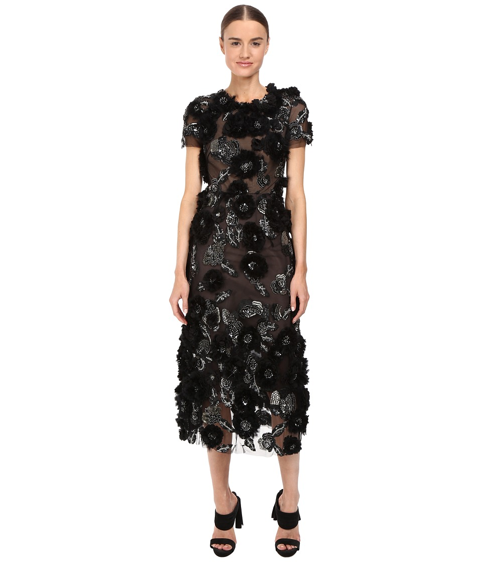 Marchesa Tulle Cocktail with Gunmetal and Jet 3D Feather Flower Embroidery (Black) Women