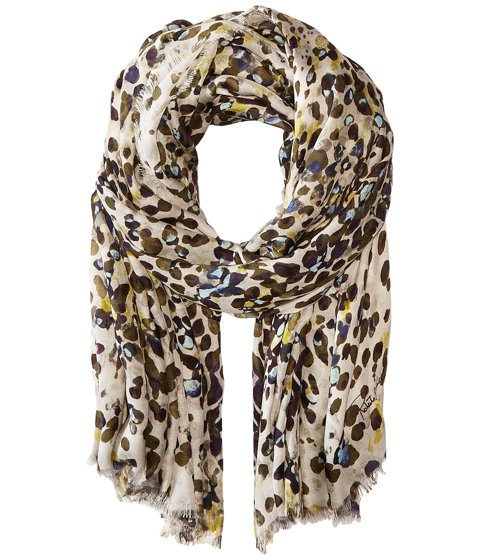 Roberto Cavalli - New Cheetah Modal Shawl (Black/Cream) Scarves