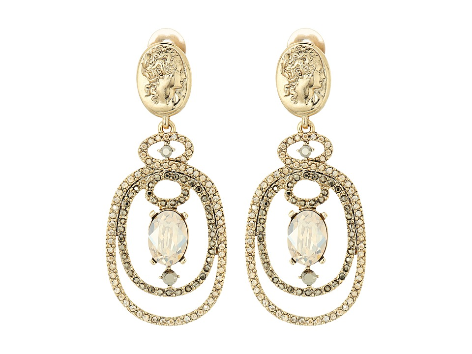 Oscar de la Renta - Bold Double Loop Cameo C Earrings (Cry Gold Shadow) Earring