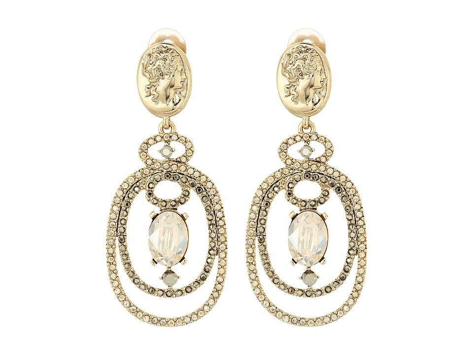 Oscar de la Renta - Bold Double Loop Cameo C Earrings (Cry Gold Shadow) Earring