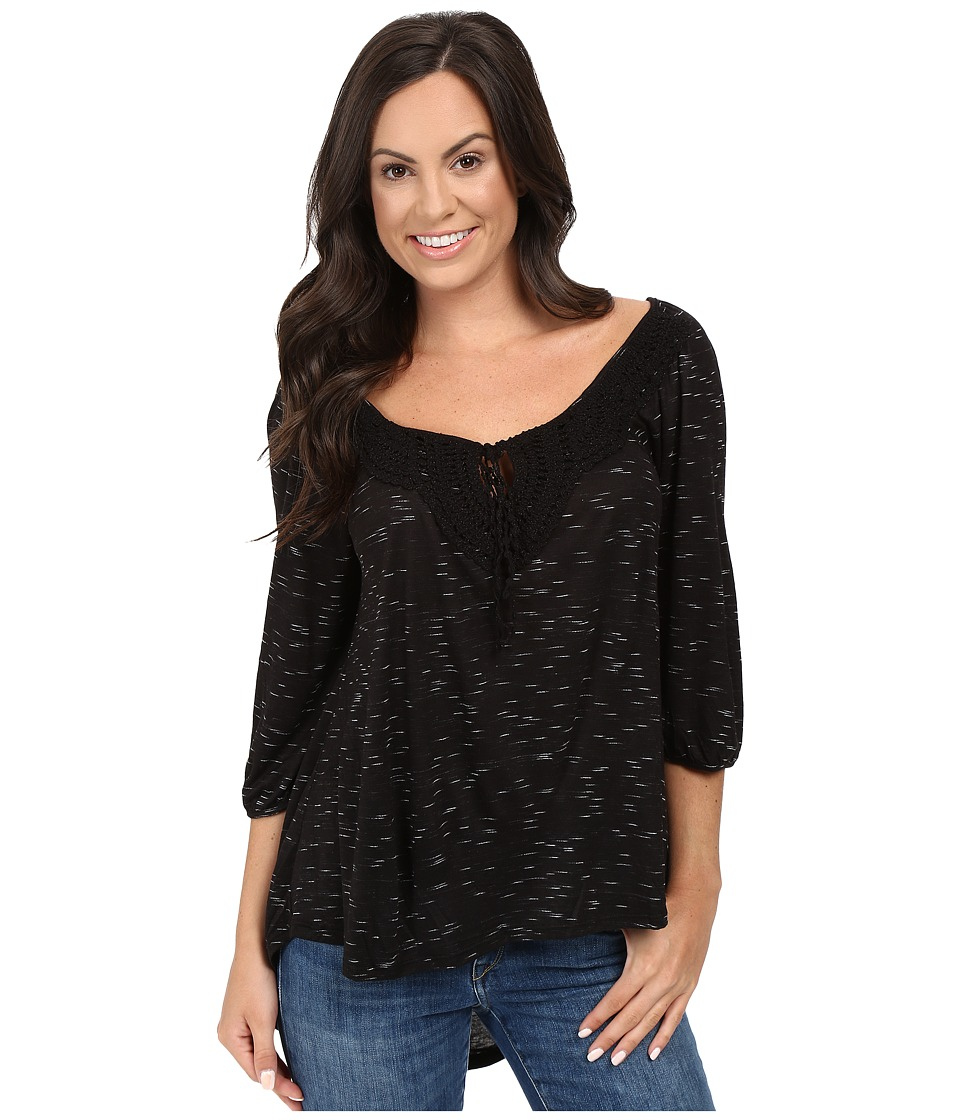 Petrol - Bow Lace Top (Black) Women's Clothing