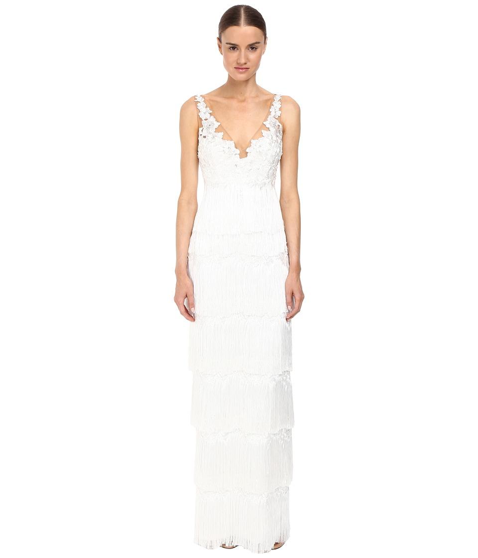 Marchesa Notte - Fringe Gown (Ivory) Women's Dress