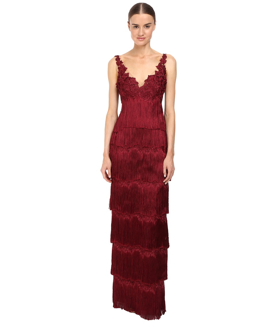 Marchesa Notte - Fringe Gown (Burgundy) Women's Dress