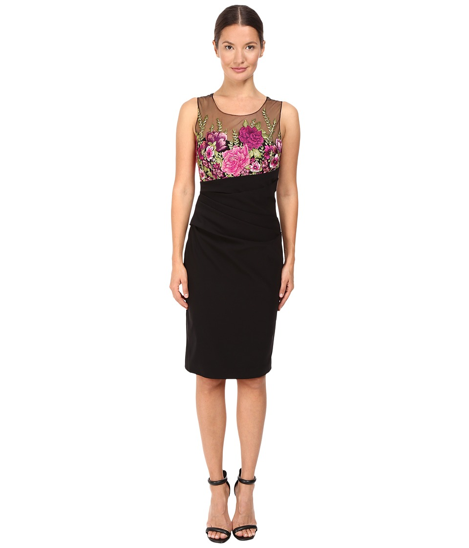 Marchesa Notte - Embroidered Cocktail with Super Stretch Skirt (Black) Women's Dress