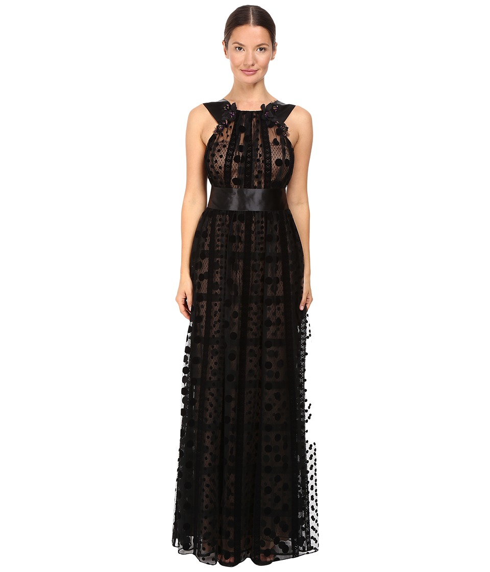 Marchesa Notte - Polka Dot Gown with Beaded Floral Accents (Black) Women's Dress