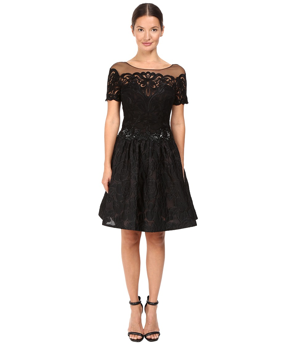 Marchesa Notte - Brocade Cocktail with Pockets (Black) Women's Dress