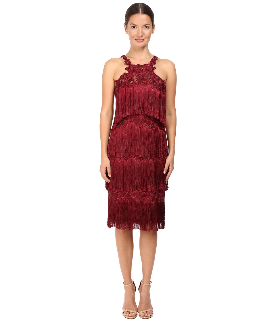 Marchesa Notte Fringe Cocktail (Burgundy) Women