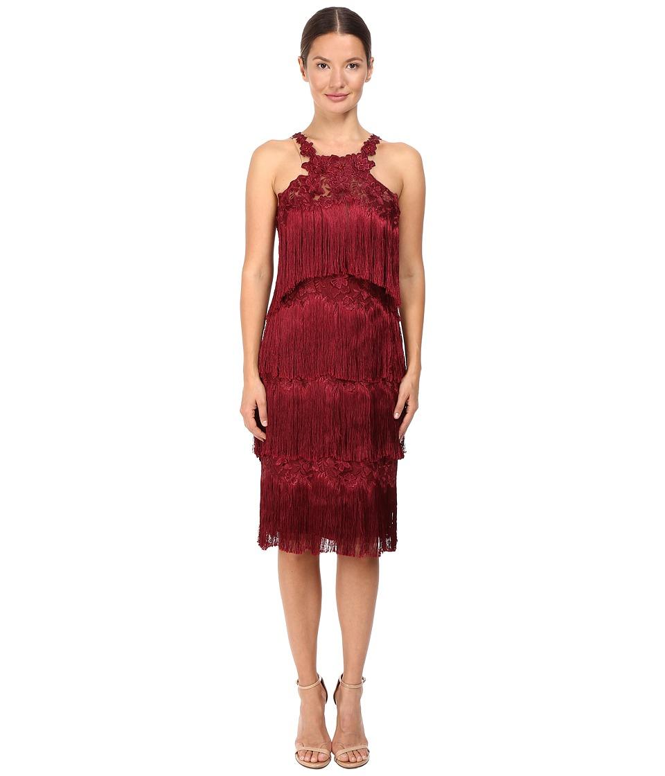 Marchesa Notte - Fringe Cocktail (Burgundy) Women's Dress