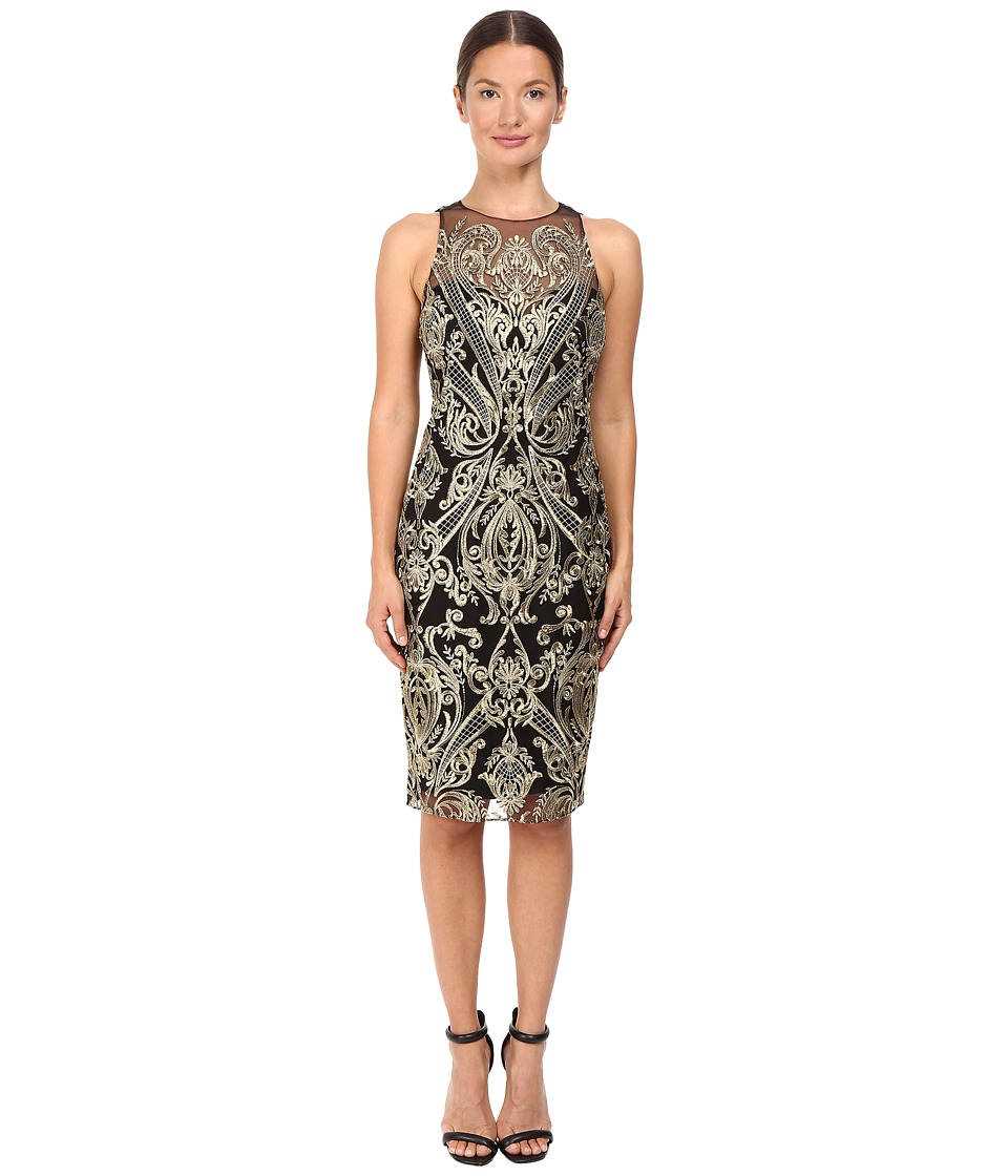 Marchesa Notte Embroidered Sheath Black Dress