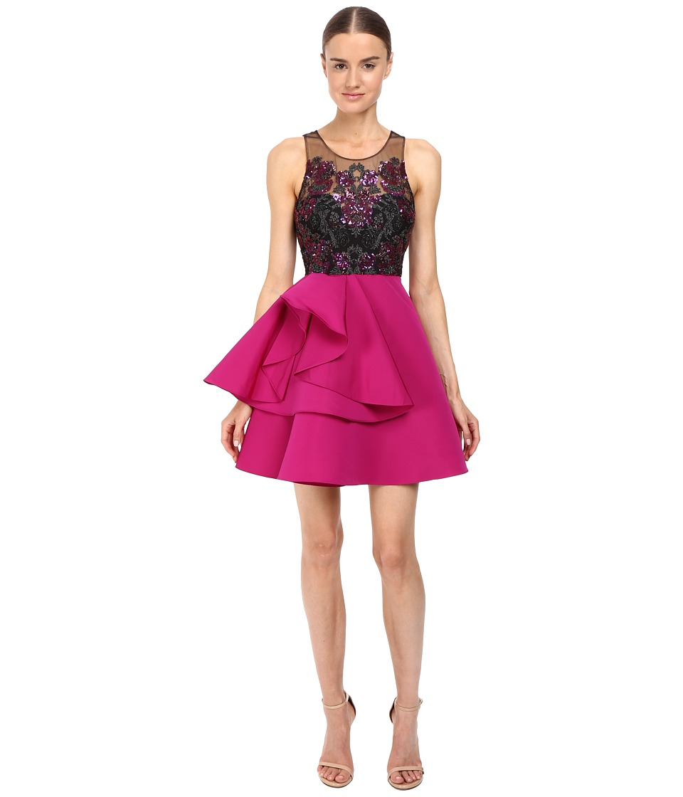 Marchesa Notte - Embroidered Cocktail with Draped Faille Skirt with Pocket (Fuchsia) Women's Dress