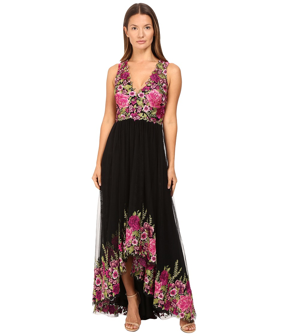 Marchesa Notte - High-Low Tulle Gown with Floral Embroidery (Magenta) Women's Dress