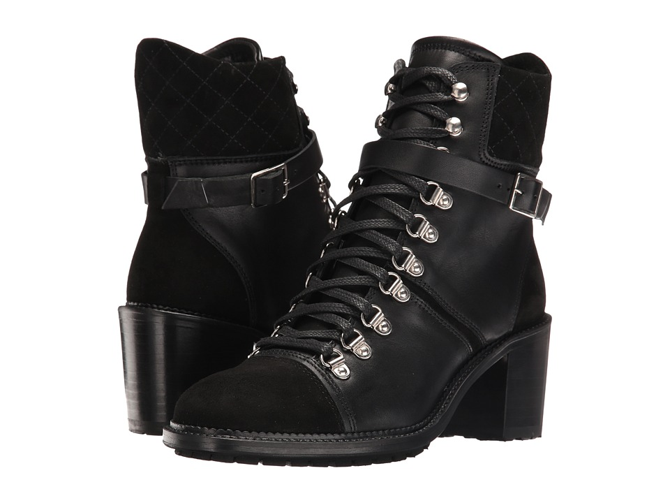 The Kooples - Steffy Boots in A Smooth Leather and Calfskin Suede Mix (Black) Women's Lace-up Boots