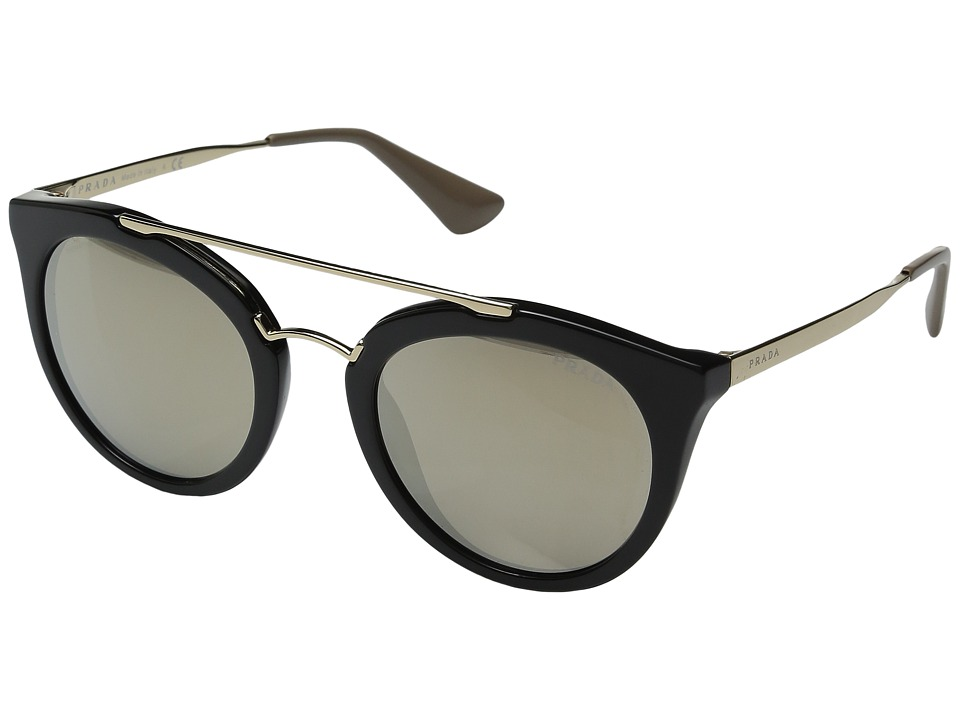Prada - 0PR 23SS (Black/Light Brown/Mirror Gold) Fashion Sunglasses