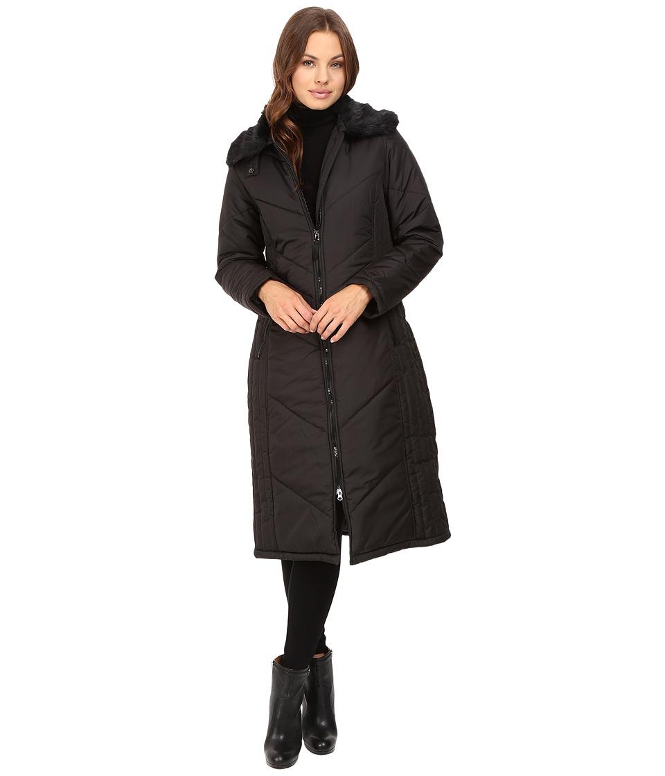 KC Collections - Long Stadium Puffer (Black) Women's Coat