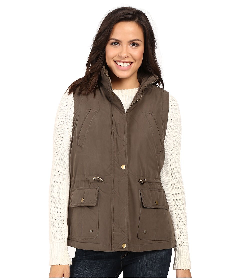 KC Collections - Micro Cotton Vest with Hood (Olive) Women's Vest