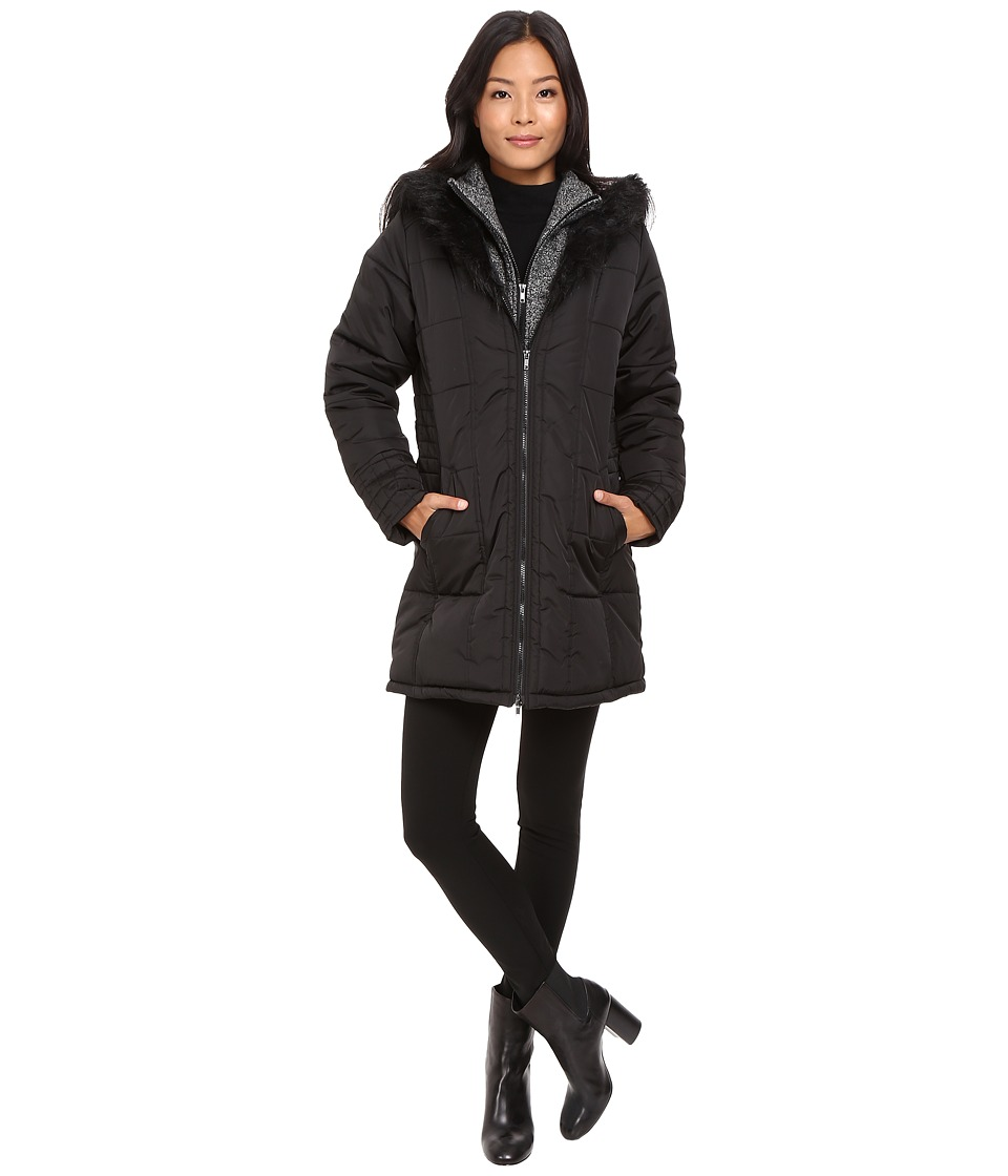 KC Collections - Hood Fur Trim Puffer (Black) Women's Coat