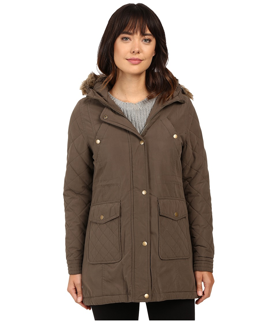 KC Collections - Hooded Micro Cotton Jacket (Olive) Women's Coat