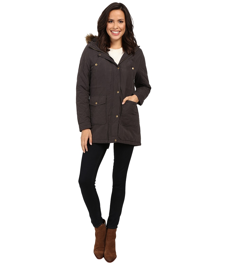 KC Collections - Hooded Micro Cotton Jacket (Charcoal) Women's Coat