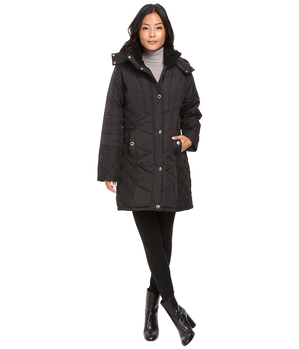 KC Collections - Quilted Puffer with Hood (Black) Women's Coat