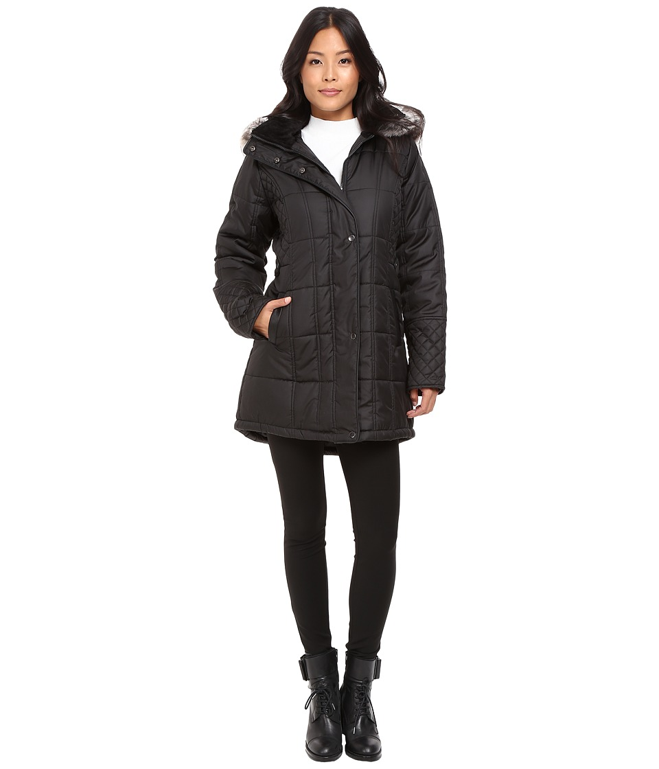 KC Collections - Quilted Puffer with PU Trim (Black) Women's Coat