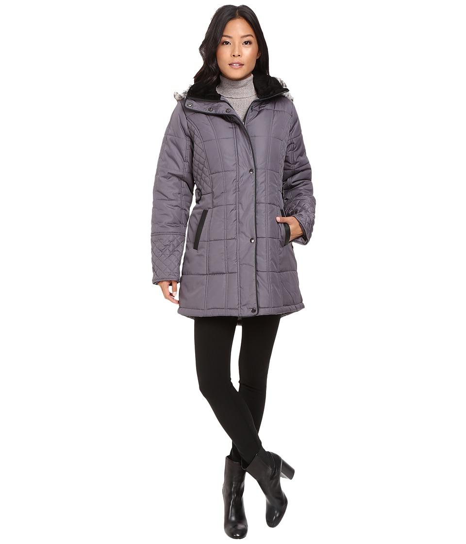 KC Collections - Quilted Puffer with PU Trim (Gunmetal) Women's Coat