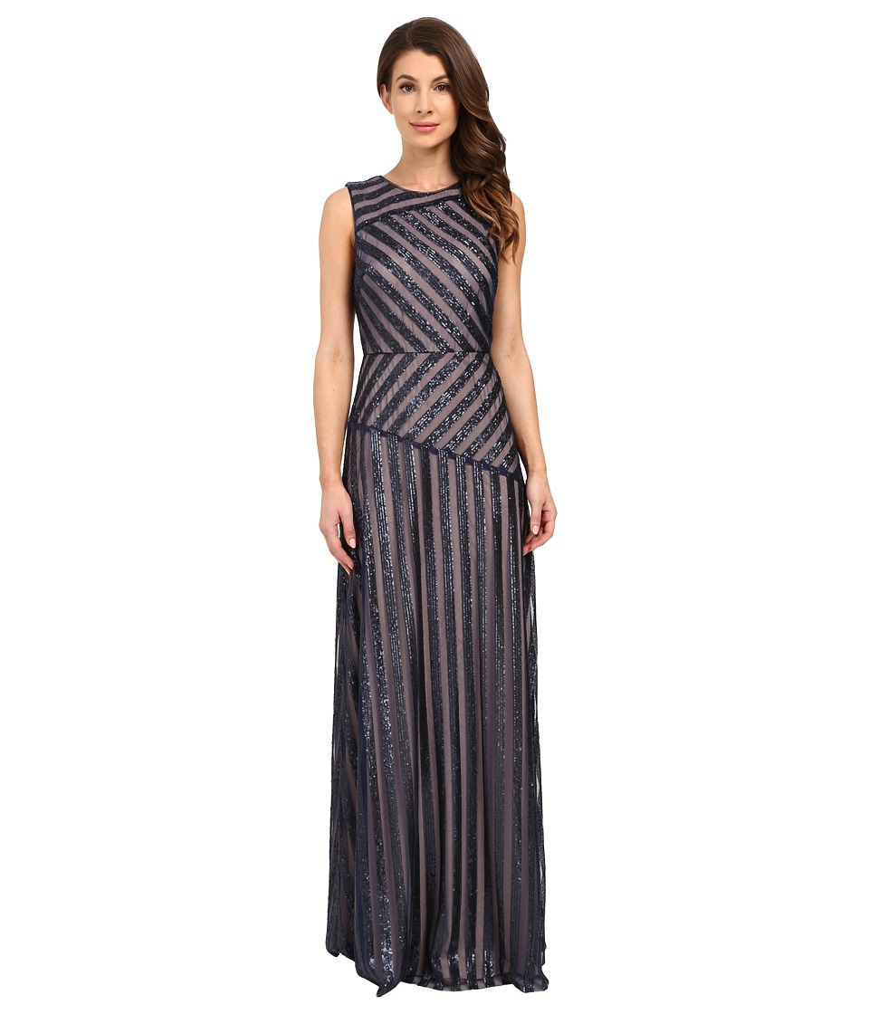 Donna Morgan - Gigi Boat Neck Striped Sequin Gown (Midnight/Nude) Women's Dress