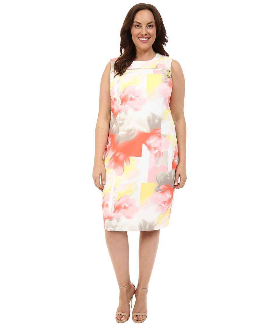 Calvin Klein Plus - Plus Size Zip at Yoke Dress (Latte/Koi) Women's Dress