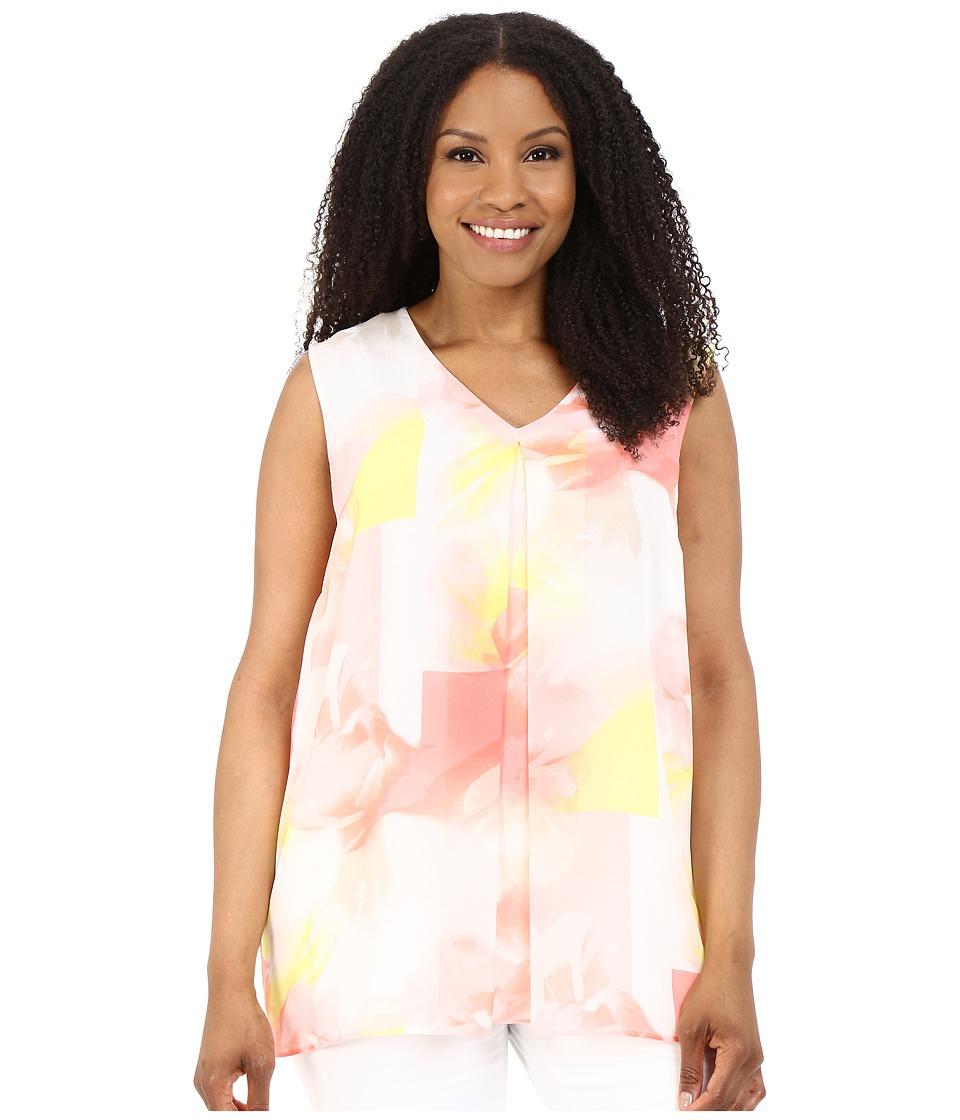 Calvin Klein Plus - Plus Size Sleeveless Blouse w/ Invert Pleat (Latte/Koi) Women's Sleeveless plus size,  plus size fashion plus size appare