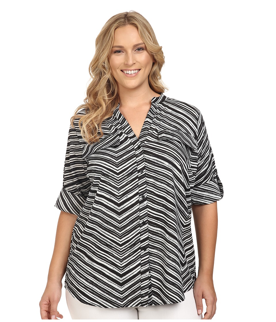 Calvin Klein Plus - Plus Size Printed Roll Sleeve Blouse (Black Stripe) Women's Blouse