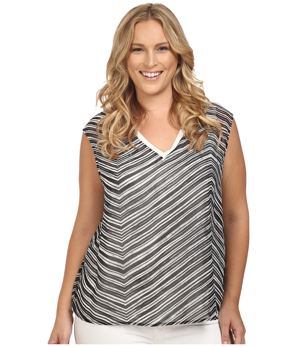 Calvin Klein Plus - Plus Size V-Neck Chiffon Layer Top (Black Stripe) Women's Sleeveless
