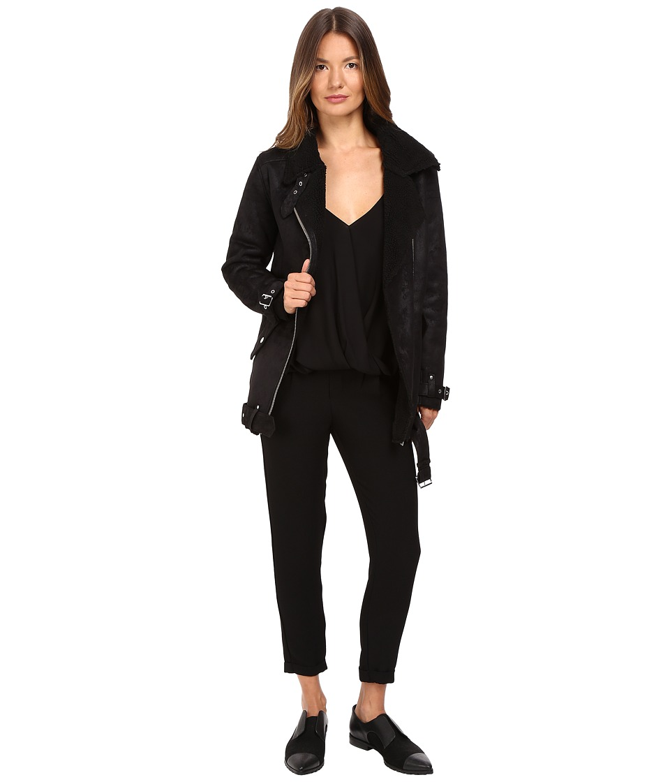 The Kooples - Perfecto in Faux Treated Sheepskin (Black) Women's Coat