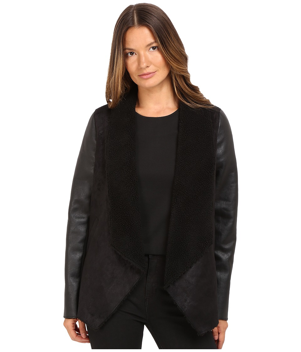 The Kooples - Gilet in Faux Treated Sheepskin with Faux Leather on the Sleeves (Black) Women's Coat