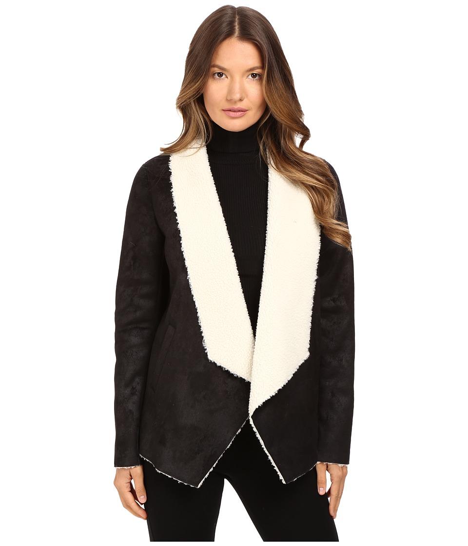 The Kooples - Gilet in Faux Treated Sheepskin (Black) Women's Coat