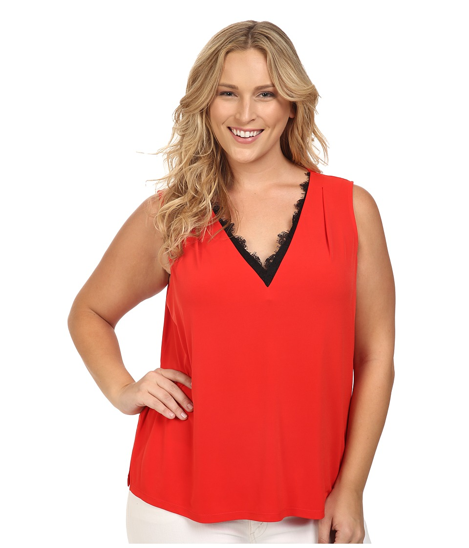 Calvin Klein Plus - Plus Size Sleeveless Top w/ Lace Trim (Tango Red) Women's Sleeveless