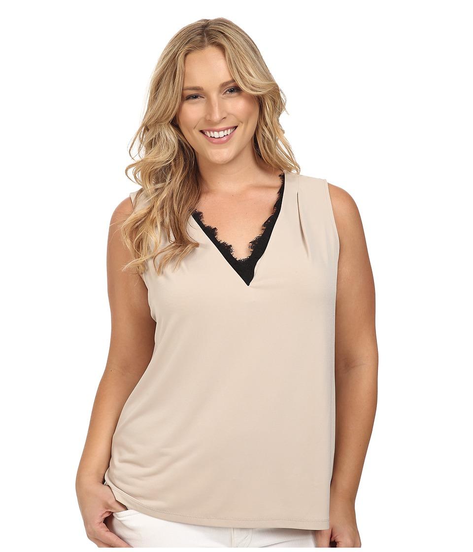 Calvin Klein Plus - Plus Size Sleeveless Top w/ Lace Trim (Latte) Women's Sleeveless