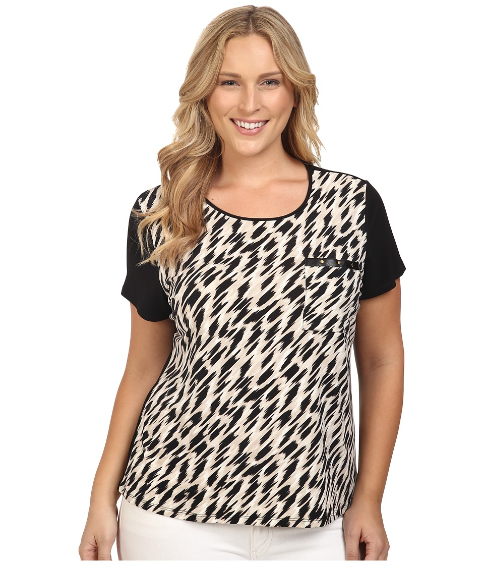 Calvin Klein Plus - Plus Size Short Sleeve Top w/ Pocket Detail (Black/Latte Combo) Women's Short Sleeve Knit