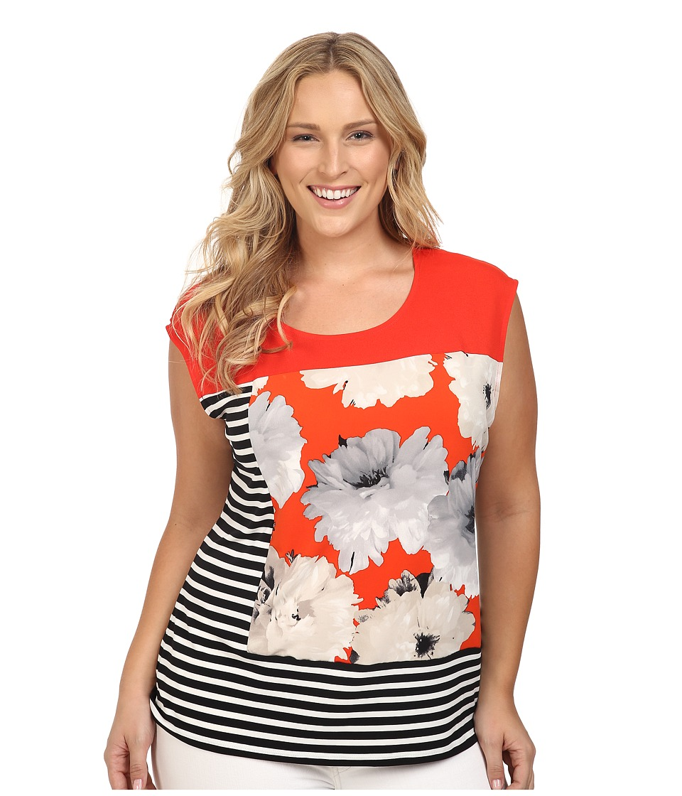Calvin Klein Plus - Plus Size Mixed Print Tee (Tango Multi) Women's Short Sleeve Knit
