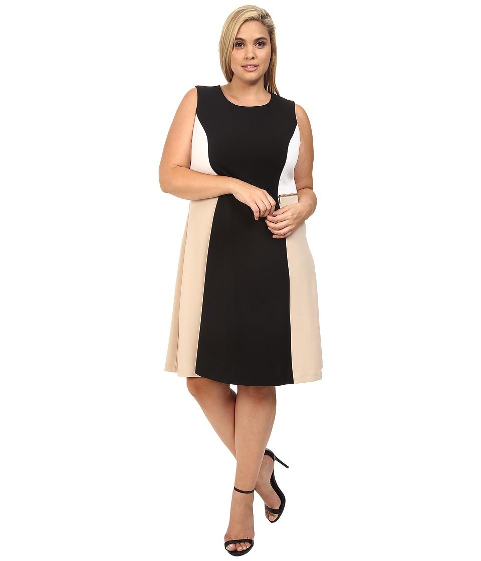 Calvin Klein Plus - Plus Size Color Block Flare Dress (Black) Women's Dress