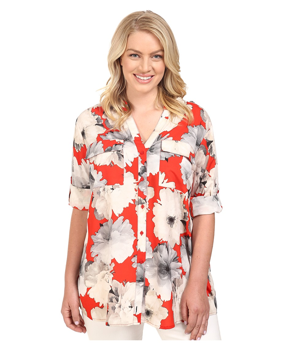 Calvin Klein Plus - Plus Size Printed Roll Sleeve Blouse (Tango Multi) Women's Blouse